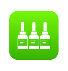 Three tattoo ink bottles icon digital green vector