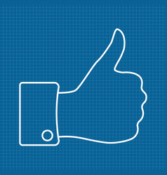 Thumbs up icon on bluepri vector