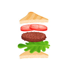 triangle sandwich with ingredients fresh tomatoes vector image
