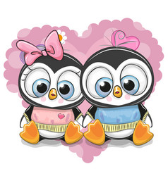 Two cartoon penguins on a background of heart vector