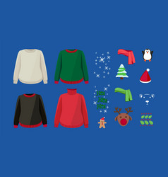 ugly sweater design kit warm cardigans and winter vector image