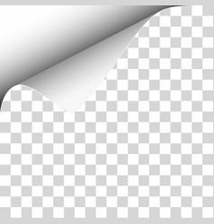 upper left curl corner transparent sheet vector image