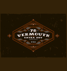 vermouth label with vintage frame vector image