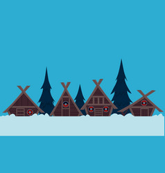 Viking village in winter vector