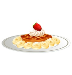 Waffle with banana cream on plate vector