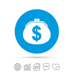 Wallet dollar sign icon cash bag symbol vector