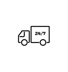 web line icon hour shipping black on white vector image