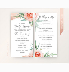 wedding ceremony program floral design blush peach vector image