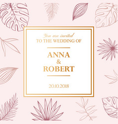 Wedding tropical invitation card in pastel colors vector