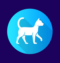 Witch cat blue flat design long shadow glyph icon vector