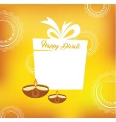 Yellow color card design for Diwali vector
