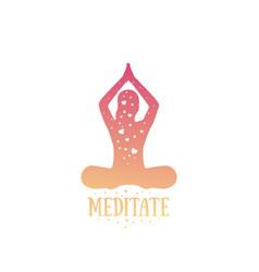 Yoga meditating girl vector
