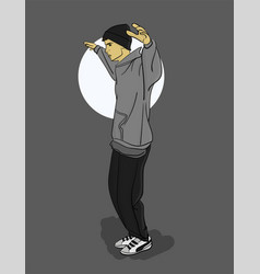 a guy in a gray sweatshirt and dark gray trousers vector image