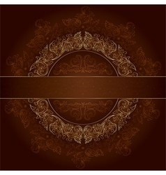 Floral gold frame with vintage patterns on brown vector image vector image