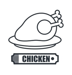 hot chicken meat isolated icon design vector image vector image