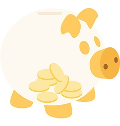Orange piggy bank with coins vector image vector image