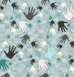 Palm Hand Seamless Retro Pattern on Triangle vector image vector image