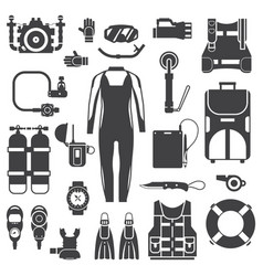 scuba diving and snorkeling gear icons vector image vector image