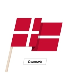Denmark Ribbon Waving Flag Isolated on White vector image vector image