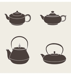Set isolated icon silhouette teapots vector image vector image