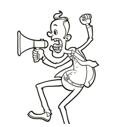 angry man with megaphone vector image