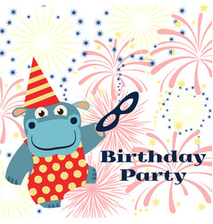 birthday party background with cartoon hippo with vector image