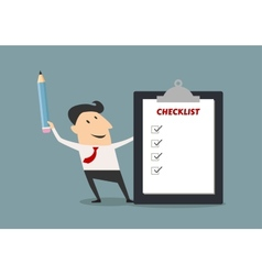 Businessman holding checklist board and pencil vector image vector image