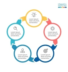 Circular infographics Business diagram with 5 vector image