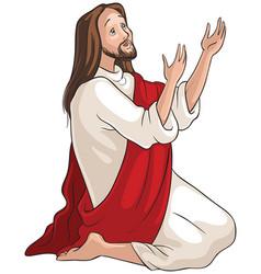 jesus kneeling in prayer vector image vector image