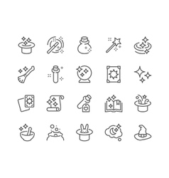 Line Magic Icons vector image