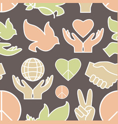 peace icons pattern vector image vector image