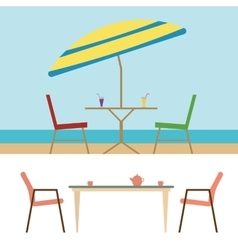 Summer Beach Furniture Flat Set vector image vector image