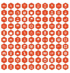 100 taxi icons hexagon orange vector image