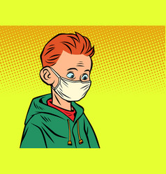 a boy in a medical mask vector image