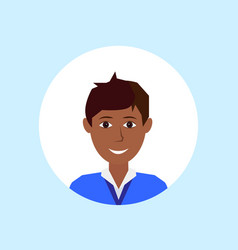african american man face happy portrait on blue vector image