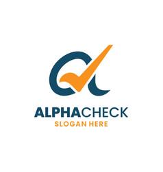 Alpha check logo template design creative greek vector