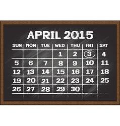 April 2015 calendar on chalkboard vector