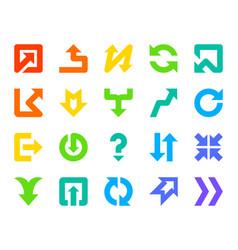 Arrow button color silhouette icons set vector