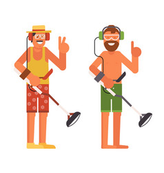 Beach treasure hunter with metal detector vector