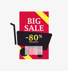 big sale 80 percent discount barcode and shopping vector image