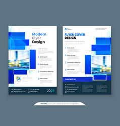 blue flyer template layout design corporate vector image