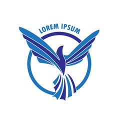 blue flying phoenix logo vector image