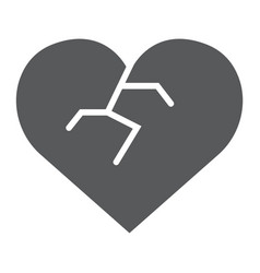 broken heart glyph icon love and broke vector image