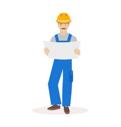 Builder or construction superintendent in a helmet vector