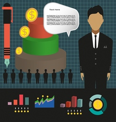 Business elements infographic with person 3d pie c vector