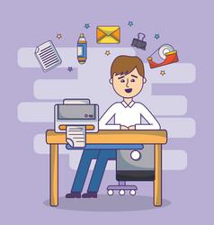 business office employee workspace cartoon vector image