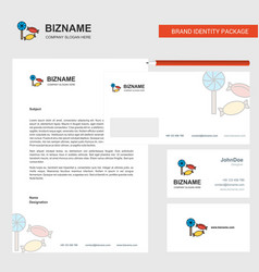 Candies business letterhead envelope and visiting vector
