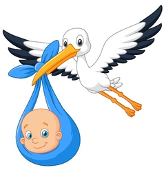 Cartoon bird Stork with baby vector image