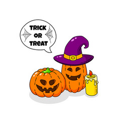 cartoon doodle card happy halloween background vector image