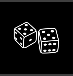 casino dice line icon on black background black vector image